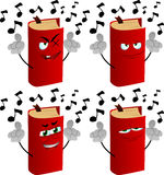 Set of evil singing book Royalty Free Stock Images