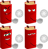 Set of evil volleyball player book Royalty Free Stock Image