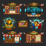 Set of example of wooden board user interface of game. Window of level choice, shop, skills, choice character, setting and victory vector illustration