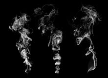 Set of 3 examples of smoke Stock Photo