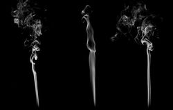 Set of 3 examples of smoke Stock Image