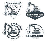 Set of excavator logo. Set of excavator logos, emblems and badges isolated on white background. Constructing equipment design elements. Heavy excavator machine Royalty Free Stock Photos