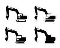 Set of excavator in silhouette symbol style Stock Photos