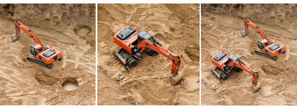 Set of excavators at sandpit during earthmoving works. Construction of concrete foundation of new building. Banner for. Website Royalty Free Stock Photo