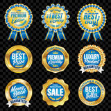 Set of excellent quality blue badges with gold border. Set of excellent quality blue badges Royalty Free Illustration