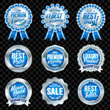Set of excellent quality blue badges with silver border. Set of excellent quality blue badges Royalty Free Illustration