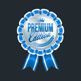 Set of excellent quality blue badges with silver border. Vector illustration Stock Images