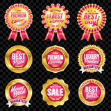Set of excellent quality crimson badges with gold border. Set of excellent quality crimson badges Vector Illustration
