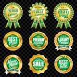 Set of excellent quality green badges with gold border. Set of excellent quality green badges Royalty Free Illustration