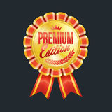 Set of excellent quality red badges with gold border. Vector illustration Royalty Free Stock Images