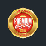 Set of excellent quality red badges with gold border. Vector illustration Stock Image
