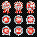 Set of excellent quality red badges with silver border. Set of excellent quality red badges Stock Illustration