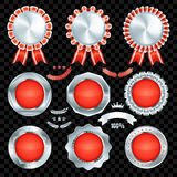Set of excellent quality red empty badges. With silver border Vector Illustration