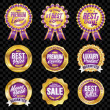 Set of excellent quality violet badges with gold border. Set of excellent quality violet badges Stock Photos