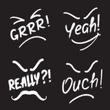 Set of exclamation Grrr! Yeah! Really! Ouch!. Print for poster, t-shirt, bags, logo, postcard, flyer, sticker, sweatshirt. Simple  sign Royalty Free Stock Image