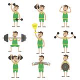 A set of exercises with dumbbells Stock Image