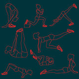 Set of exercises poses for women. Exercise silhouettes illustrations on derk blue background Vector Illustration