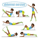 Set of exercises. Woman doing abdominal exercises Royalty Free Stock Image