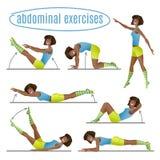 Set of exercises. Woman doing abdominal exercises. Cartoon Illustration Royalty Free Stock Image