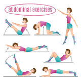 Set of exercises. Woman doing abdominal exercises. Cartoon Illustration Stock Photography