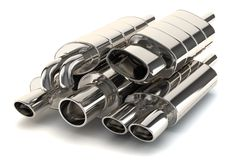 Set of exhaust pipes. On white background Royalty Free Stock Image