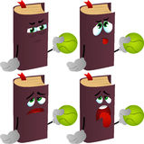 Set of exhausted book holding a tennis ball Stock Images