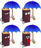 Set of exhausted book with umbrella Stock Images