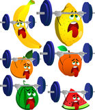 Set of exhausted fruits lifting weight Stock Photo
