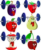 Set of exhausted fruits lifting weight Stock Images
