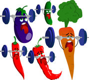 Set of exhausted vegetables lifting weight Royalty Free Stock Image