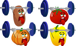 Set of exhausted vegetables lifting weight Royalty Free Stock Photography