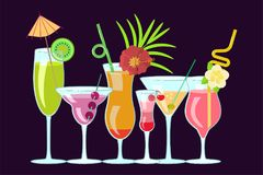 Exotic alcoholic cocktails Royalty Free Stock Images