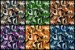 Set of exotic color camouflage as background Stock Photo
