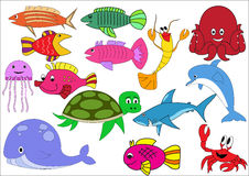 A set of exotic fish on a white background.