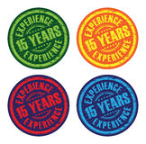 A set of experience stamps. A set of fifth teen years experience stamps Stock Photos