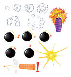Set of explosive pyrotechnic cartoon. Set of various bombs and pyrotechnics Royalty Free Stock Images