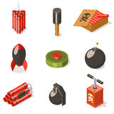 Set of explosive weapon icons. Isometric vector illustration Royalty Free Stock Images