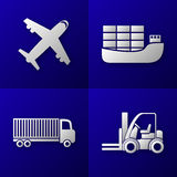 Set of export import icons - plane, cargo ship, truck and forklift - transport Royalty Free Stock Photo