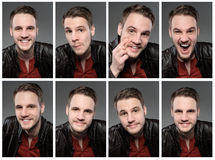 Set of expresions of handsome man with beard. Against dark wall background royalty free stock photography