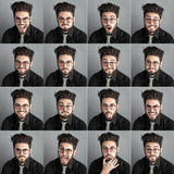 Set of expresions of handsome man with eye glasses and beard Royalty Free Stock Photos