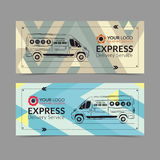 Set of Express delivery service banner, poster, flyer. Delivery van business layout templates. Royalty Free Stock Photography