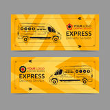 Set of Express delivery service banner, poster, flyer. Delivery van business layout templates. Stock Images