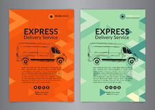 Set A4 Express delivery service brochure flyer design layout template. Delivery van magazine cover, mockup flyer. Stock Images