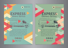 Set A4 Express delivery service brochure flyer design layout template. Delivery van magazine cover, mockup flyer. Royalty Free Stock Image