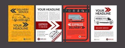 Set of Express delivery service brochure flyer design layout template. Fast delivery mockup flyer. Set of Express delivery service brochure flyer design layout stock illustration