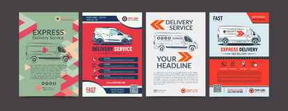 Set of Express delivery service brochure flyer design layout template. Fast delivery and quality service transportation magazine cover, mockup flyer. Layout in stock illustration