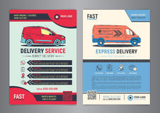 Set of Express delivery service brochure flyer design layout template. Royalty Free Stock Images