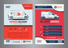 Set of Express delivery service brochure flyer design layout template. Stock Images