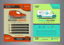 Set of Express delivery service brochure flyer design layout template. Stock Photos