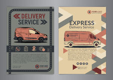 Set of Express delivery service brochure flyer design layout template. Royalty Free Stock Image